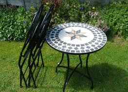3 piece metal mosaic garden bistro set with black cushions 60cm table and 2 folding chairs