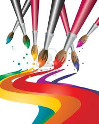 an illustration of artists paint brushes with colorful paint | Artist paint, Painting logo, Illustration