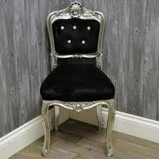 Silver Bedroom Chair Silver Finish French Style Black Velvet Louis Bedroom Chair