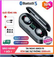 Bảo Hành 18 Tháng ) Tai Nghe Bluetooth Không Dây AMOI F9 Kiêm Sạc Dự Phòng  2000 mAh - Tặng Cáp 99k - Tai Nghe Bluetooth Mini Tai Nghe Nhạc Chơi