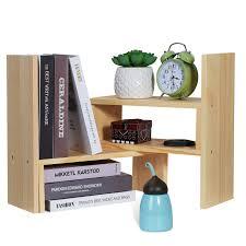 details about adjustable diy wood display shelf storage bookshelf office bookcase stand rackus
