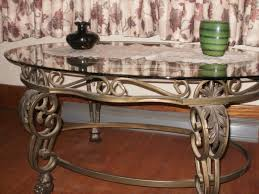 Furniture Large Oval Wrought Iron Coffee Table With Glass Top For