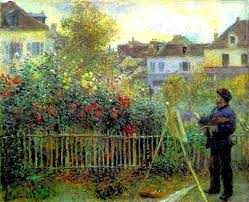 monet painting in his garden at