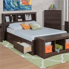 Twin XL Espresso Brown Platform Bed w/ Headboard and Storage Drawers ...