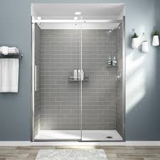 Watch this detailed video to see how easy it is to install our tub surround kit. American Standard Passage 32 In X 60 In X 72 In 4 Piece Glue Up Alcove Shower Wall In Gray Subway Tile P2969swt 376 The Home Depot