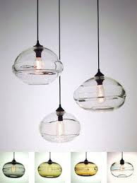 ball shaped clear hand blown glass mini pendant lights green orange color best selection vintage impression best pendant lighting
