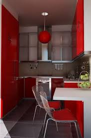 Red Kitchen Light Shades Kitchen Design Modern Small U Shape Red Kitchen Design With