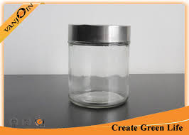 500ml cylinder airtight glass storage jars with stainless steel lid glass jars for storage
