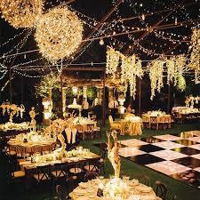 rustic backyard wedding decor with lights deer pearl flowers backyard wedding lighting