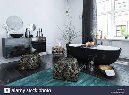 Stilvolle Orientalischen Stil Badezimmer Mit Schwarzem Lack Dekor