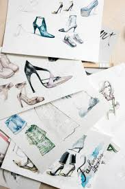 Sketching Clothing Patterns Of Fashion Sketching Models Of Footwear And Clothing