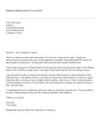 Application Letter For College Teacher Sample Professional Letter