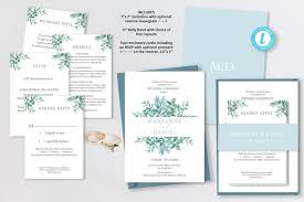 Easy Invitation Templates Printable Dusky Blue Green Leaf Wedding Invitation Templates Easy To Edit And Customize Belly Band Rsvp Wishing Well Cards Templett