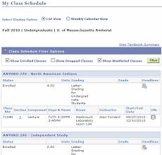 Shopping Cart Vs Class Schedule Umass Amherst Information