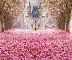 Cherry Blossom Backdrop Pink Cherry Blossoms Backdrop Fairytale Castle Photography Background For Princess Baby Birthday Party Decorations Photo Props