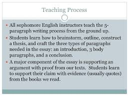 english ii writing focus mastering the paragraph form sophomore  teaching process all sophomore english instructors teach the 5 paragraph writing process from the ground
