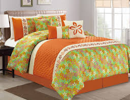 Orange And Teal Bedroom 11 Piece Floral Quilted Orange Lime Teal Bed In A Bag Set