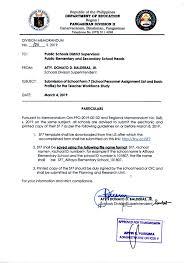 Sample Of Memoranda Division Memorandum No 106 S 2019 Submission Of School