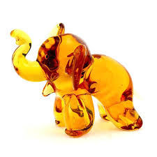 glass elephant figurine art murano green