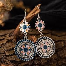 <b>Vintage Ethnic Flower</b> Oil Drop Dangle Hanging <b>Earrings</b> for Women ...
