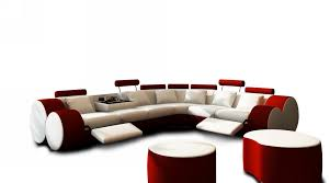3087 Modern White And Red Leather Sectional Sofa And Coffee Table