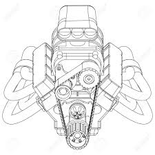 Schematic drawing of hot rod engine vector illustration royalty