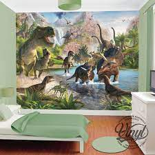 dinosaurs raw wall mural kit 8ft x 10ft