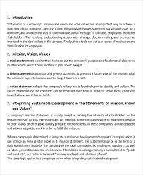 Mission Statement Example 9 Business Plan Mission Statement Examples Vision Template Strategic