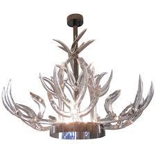stunning lucite stainless steel chandelier
