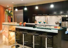 design functional kitchen with bar and contemporary lighting