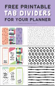 Printable Binder Inserts Free Printable Top Tab Dividers For Planners Diaries And
