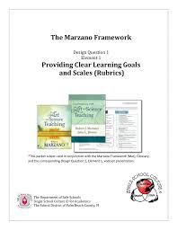 Marzano Elements Chart The Marzano Framework Providing Clear Learning Goals And Scales