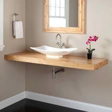 wall mounted vanity hanging bathroom teak mount vessel sink ikea wall mounted