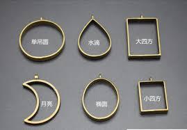 metal frame open bezel setting blank pendant for uv resin jewelry making moon round oval shape