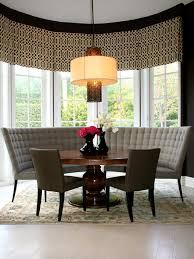 dining room table with upholstered bench. Curved Plaid Pattern Gray Velvet Upholstered Bench With Back And Black Stained Wooden Legs, Sophisticated Dining Room Table