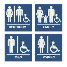 Men And Women Bathroom Signs ADA Braille Restroom Signs Custom Unisex Bathroom Sign