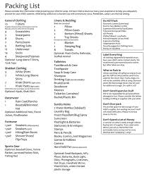 Packing List Pinemere Camp