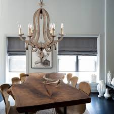 rustic distressed wood chandelier 6 light candle style