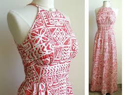 Hawaiian Dress Designers Vintage Red Halter Maxi Dress Hawaiian By