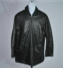 details about brooks brothers geniune black leather full zip jacket men s sz m