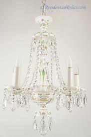 5 candle bohemian czech white opaline overlay cut crystal chandelier circa 1930s