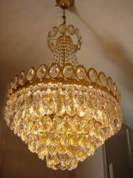 chandelier set with cut glass crystals