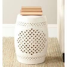 safavieh quatrefoil cream ceramic patio stool
