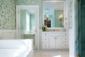 Image mirrored closet door Bedroom View In Gallery One Mirrored Closet Door In Floral Bathroom Decoist Modern Spaces With Mirrored Closet Doors
