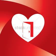 heart with an open door vector graphic