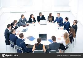 business conference business meeting business people in formalwear discussing something while sitting together at the round table photo by depositedhar