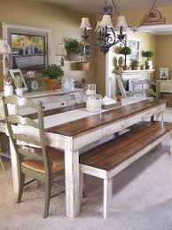 dining room farmhouse table and chairs set kidkraft table with benches cream wall and lamp