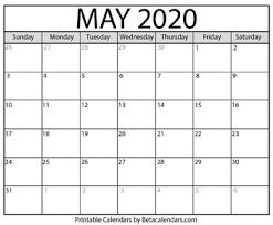 Calendar May 2020 Blank May 2020 Calendar Printable By Mateo Pedersen Tpt