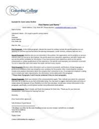 What Goes On A Cover Letter For A Resume Cover Prospecting And Thank You Letters Columbia College