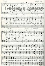 image sheet with words of the hymn in the garden